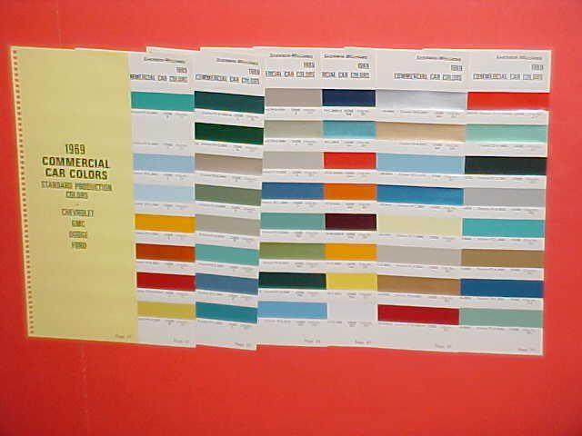 1969 CHEVROLET DODGE FORD TRUCK PAINT CHIPS COLOR CHART