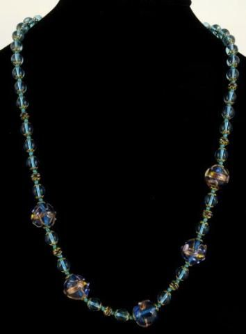 Vintage Venetian Wedding Cake Blue Pink Gold Glass Beads Necklace