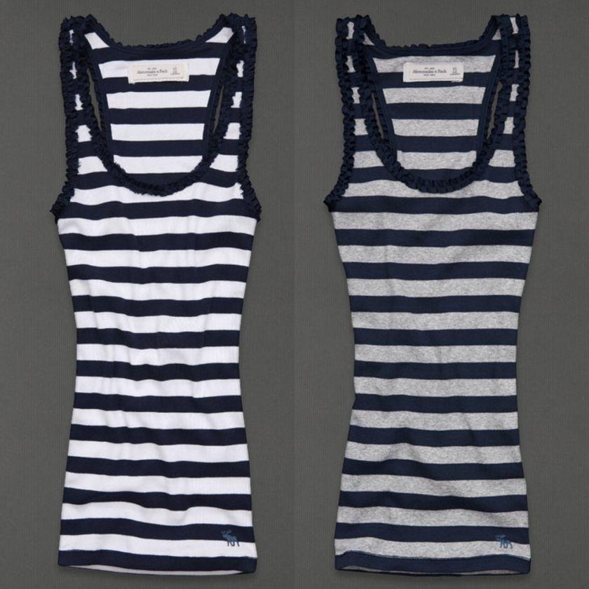 by Hollister Womens Ruffle Stripe Tank Top Shirt Benny NWT